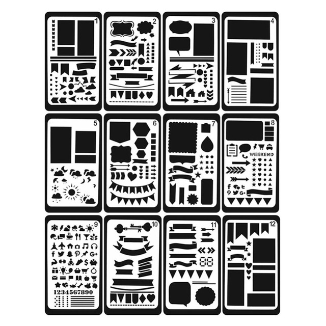 12Pcs/Lot Embellishments Bullet Journal Stencil Plastic Planner Journal/Notebook/Diary/Scrapbooking Lace Ruler For DIY Supplies