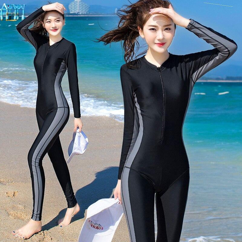 Costumi Da Bagno delle donne di Sport Surf Vestito Femminile di Un Pezzo del Costume Da Bagno Lungo Rappezzatura Del Manicotto 3 Colori M-4XL di Grandi Dimensioni Nuoto Indossa