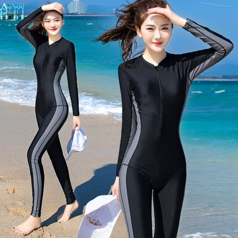 Femmes Maillots De Bain Sportives Surf Costume Femme Maillot Une Pièce À Manches Longues Patchwork 3 Couleurs M-4XL Grand Taille De Natation Porte
