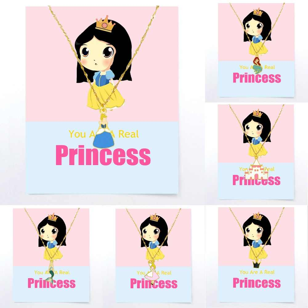 Necklace For Girls Pendant Golden Children Woman Boys Fashion Trend Card Jewelry Gift Kids Colourful Princess Castle Queen