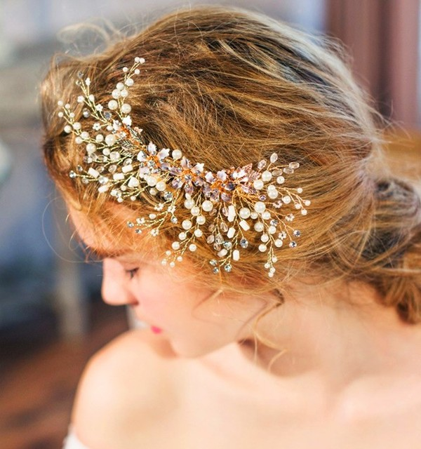 Stunning Pearl Flower Gold Wedding Tiara Hair Clip Comb Handmade Bridal Headpiece Accessories
