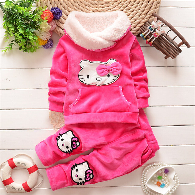 2015 новый Осень/Зима новорожденных девочек одежда устанавливает дети бархат теплая одежда набор дети девочки мультфильм пальто + брюки костюмы