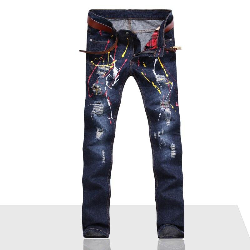 397b2d607f Los hombres Pantalones Vaqueros Rasgados Agujero Del Motorista Denim robin  parche bordado jeans para hombres Pantalones de Harén Recta punk rock en ...