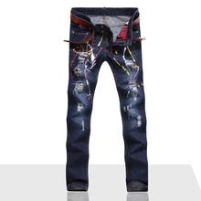 Мужчины Джинсы Разорвал Отверстие Джинсовые робин патч Гарем Прямые punk rock Байкер вышивка джинсы для мужчин Брюки(China (Mainland))