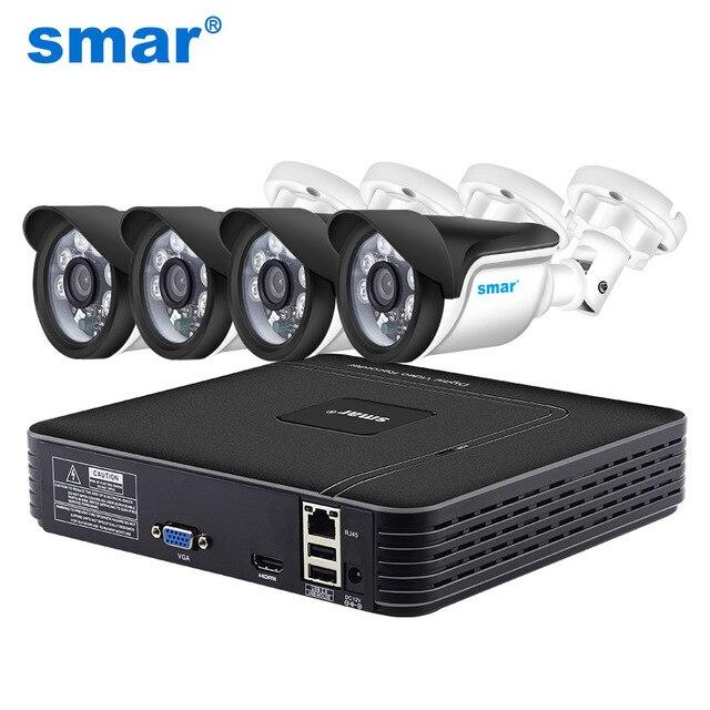 "Smar HD 4CH 1080 p NVR CCTV ערכת 4 יחידות 1MP/1.3MP/2MP חיצוני IP מצלמה ערכת בית אבטחת CCTV מערכת HDMI P2P אזעקת דוא""ל"