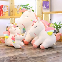 hot deal buy lovely unicorn plush doll soft stuffed horse plush animals toy kids huggable unicorn birthday gift home decor