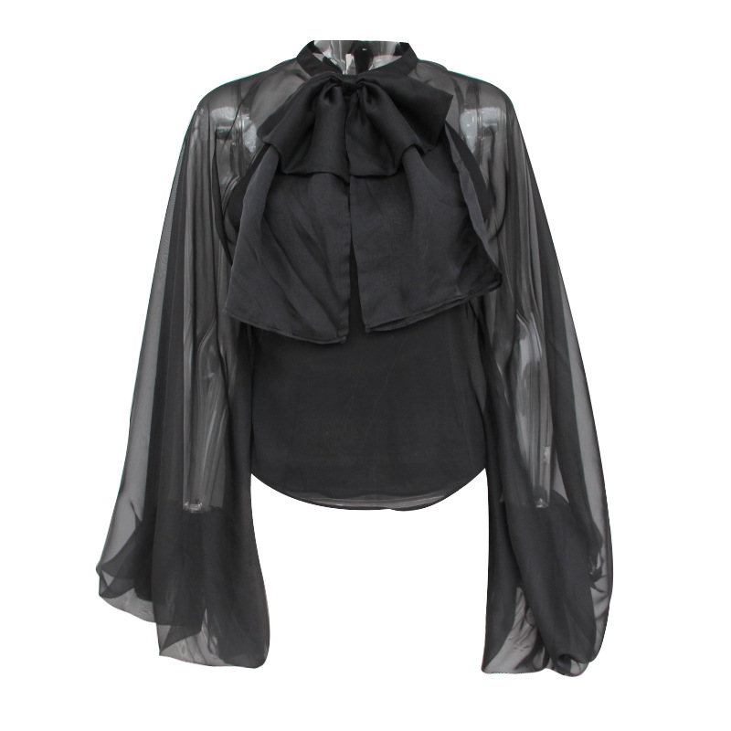 2019 new women blouse chiffon long sleeve bow tie neck black white ladies blouses tops and shirts chic streetwear solid blusas in Blouses amp Shirts from Women 39 s Clothing