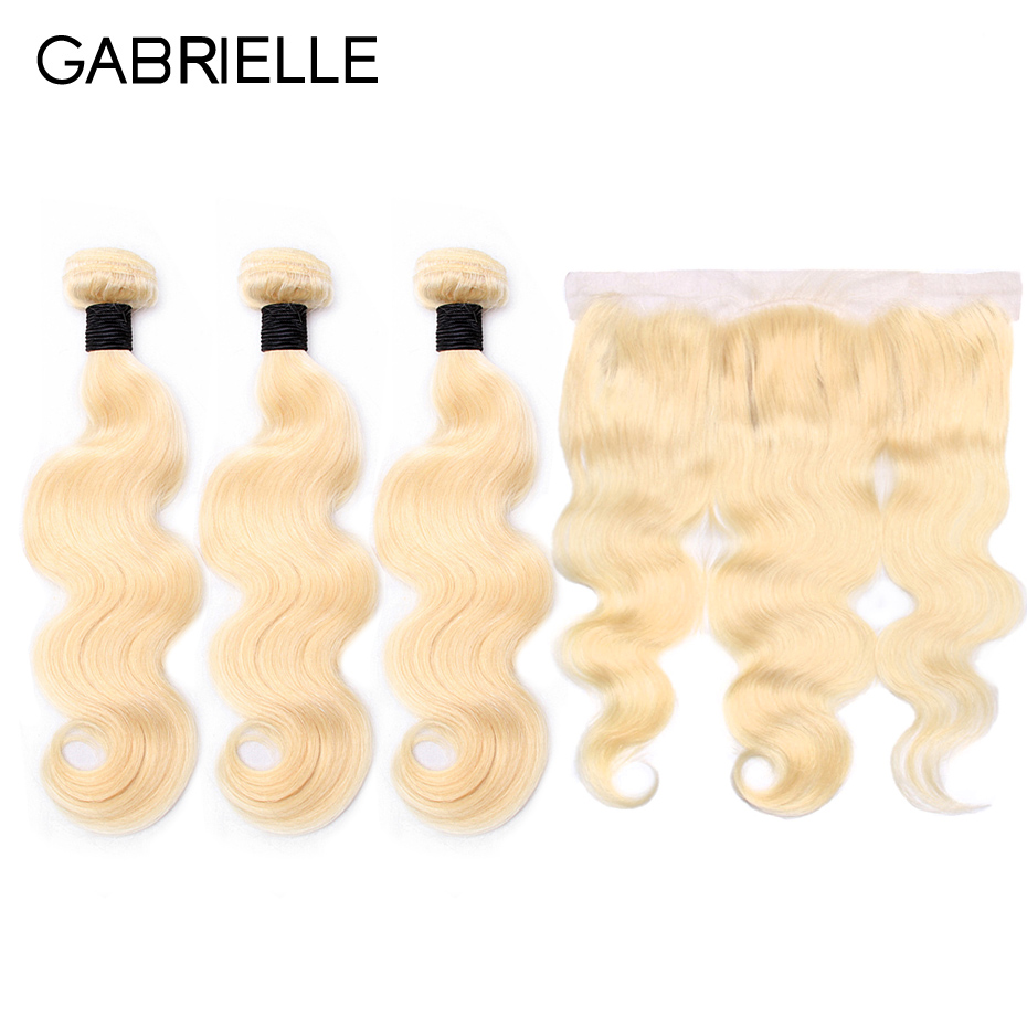 Gabrielle Brazilian Body Wave Hair Weave Bundles with Lace Frontal Closure 13x4 Blonde 613 Color Non Remy Human Hair Extensions