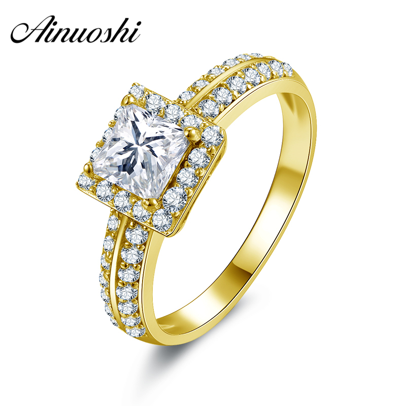 AINUOSHI Real 10k Solid Yellow Gold Wedding Ring Aneis Princess Cut Halo Aneis Feminino Gold Jewelry Trendy Women Wedding Ring