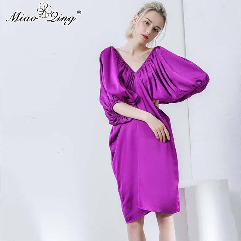V Miaoqing Lanterne Vêtements Printemps Femmes Pour Midi Dos Robe Manches Fuchsia Creux Surdimensionné Robes 2019 Nu Élégant Cou Sexy OrPFOS