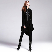 Devil Fashion Steampunk High Collar Slim Fitting Women Long Jacket Punk Gothic Black Long Sleeve Casual