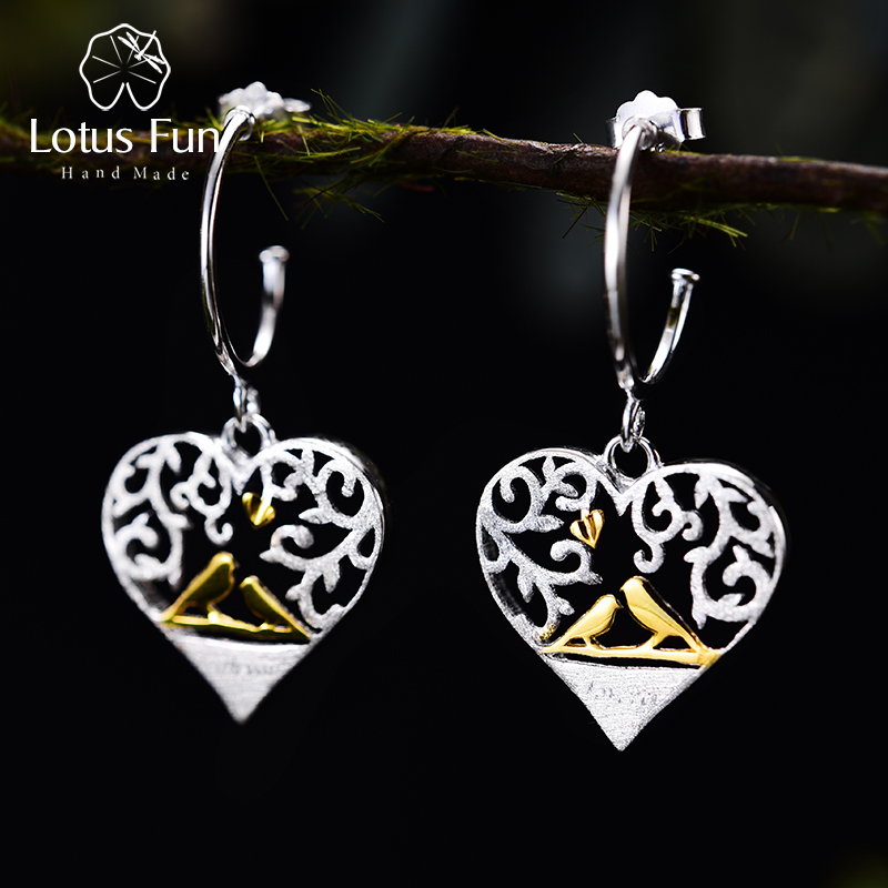 Lotus Fun Real 925 Sterling Silver Handmade Fine Jewelry Romantic Bird in Love Heart Shape Drop Earrings for Women long chain enamel bird shape drop earrings