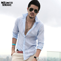 Men S Shirts Long Sleeve Business Shirt Brand Linen Male Slim Fit Casual Solid Flax Dress
