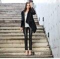 Slim PU leather trim asymmetric Hem Poncho Coat Women windbreaker woolen Cashmere Wrap Wool trench Parka Outerwear plus size XXL