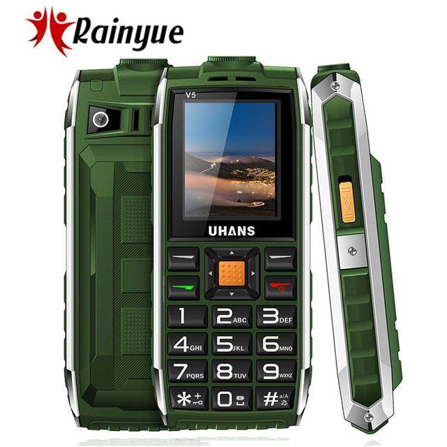 Uhans V5 Waterproof phone shockproof Elder cell phone Dual sim 2500Mah power bank Big box speaker Flashlight Child Mobile phone