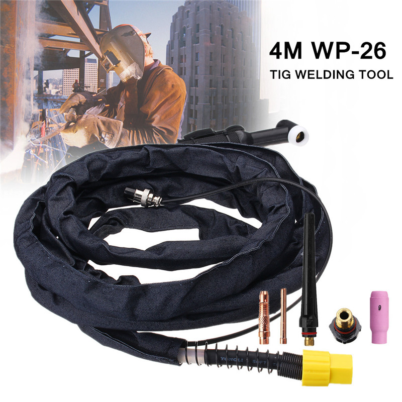 FORGELO WP26 Tig Welding Air Switched Sheathed GAS Torch Tool 4 Metre 200A Rated Welding Current Head Fit With Switch 2 Pin