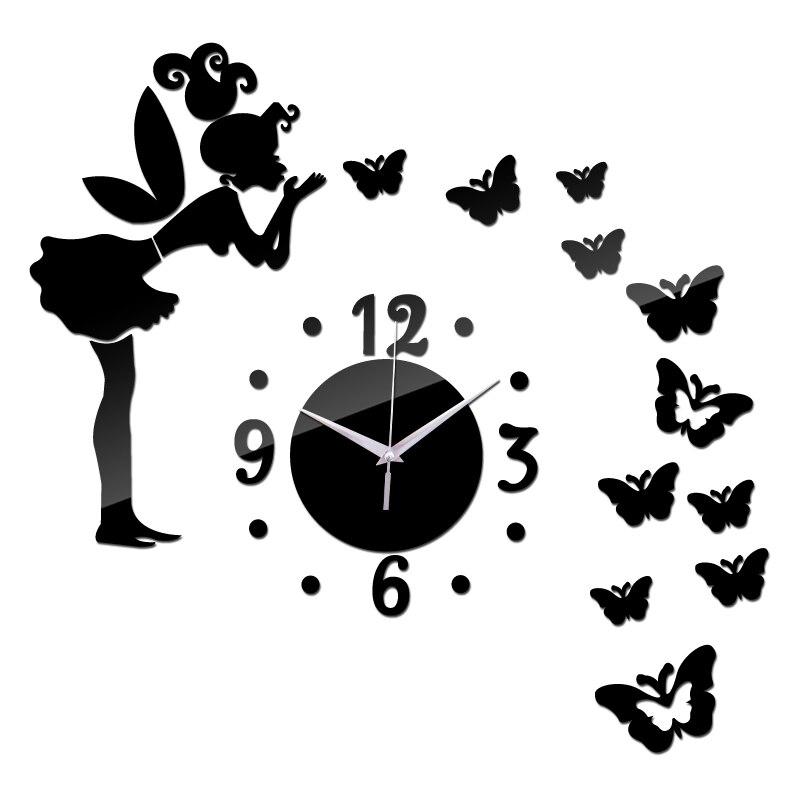 2015 nova sete dígitos decoração espelho acrílico relógios relógio de quartzo moderno relógio de parede l adesivos frete grátis