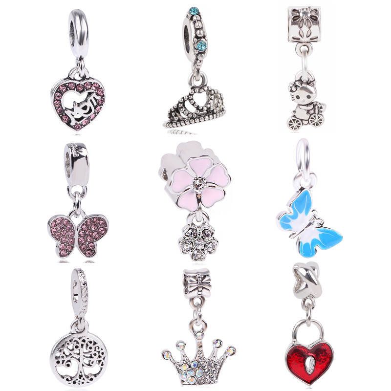 AIFEILI Original Silver Color Charms Butterfly Tree Crown MOM CZ Crystal Beads For Pandora Bracelets DIY Pendant Jewelry