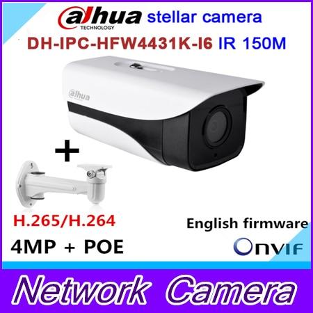 Original Dahua stellar camera 4MP DH-IPC-HFW4431K-I6 Network IP IR Bullet H265 H264 SD card slot IPC-HFW4431K-I6 wholesale dahua dh ipc hdbw4233r as 2mp ir mini dome network ip camera ir poe audio sd card stellar h265 h264 ipc hdbw4233r as