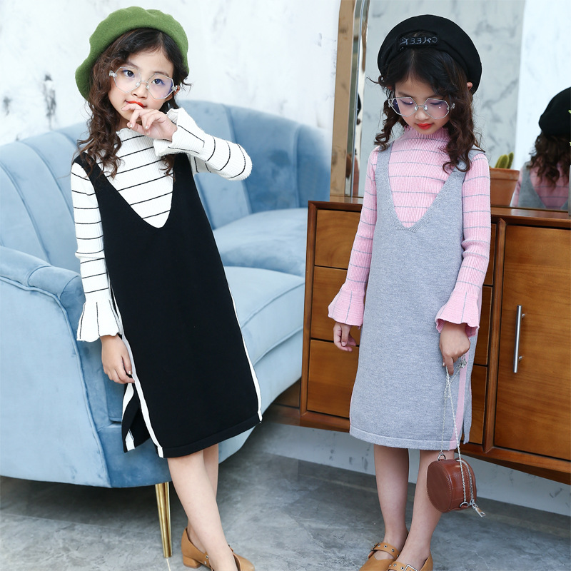 Girls Siut Casual Soiud Full Pullover Kids Girl Sweaters O Neck Girl Sweater +Skirt 2 Pcs 6 8 10 12 14 Year children's clothing