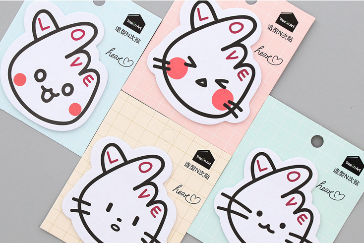Love cat Self-Adhesive Memo Pad Sticky Notes Post It Bookmark School Office Supply Escolar Papelaria