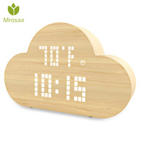 Mrosaa Electronic Digital Alarm Clock LED Intelligent Table Desktop Clock Voice Control Cloud Clock Home Bedroom decoration