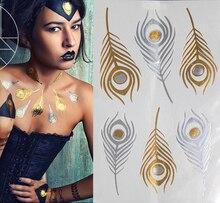 Only Big Feather Pattern Combination Sexy Body Art Sticker Waterproof Golden Silver Glitter Tattoo Stickers