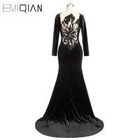 Arabic Long Sleeves Black Velour Evening Dresses Embroidery Mermaid Long Formal Women's Dresses