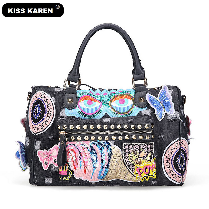 KISS KAREN Casual Fashion Women Tote Butterfly Appliques Denim Bag Lady Handbag Jeans Tote Bag Vintage Women's Shoulder Bags free shipping top quatity new national type appliques handbag lady s lady cute casual carry bag shoulder phone makeup bags