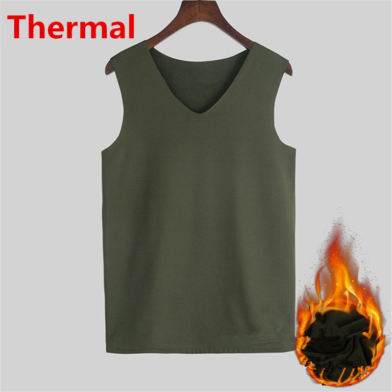 Thermal Underwear Men Warm Fleece   Tank     Tops   V neck Seamless Tee Sleeveless Cotton Singlet Stringer Winter Spring Tanktop