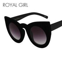 ROYAL GIRL 2017 Fashion Sexy Round Cat Eye Sunglasses Plush Personality Border Velvet Frame Sun Glasses