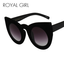 dbba3494fd ROYAL GIRL 2018 Fashion Sexy Round Cat Eye Sunglasses Black Plush  Personality Border Velvet Frame Sun Glasses For Women SS205