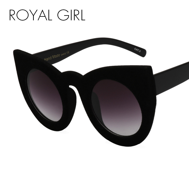 ROYAL GIRL 2018 Moda Sexy Ronda Ojo de Gato gafas de Sol Negro Personalidad de la Felpa Borde de Terciopelo Marco Gafas de Sol Para Mujeres SS205