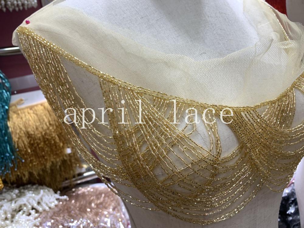 Cou0015# 10pcs/bag 9 Cm Golden Neck Mesh Beads Ribbon Fringe Tassel For Decorative/wedding Bridal Ball Gown Dress