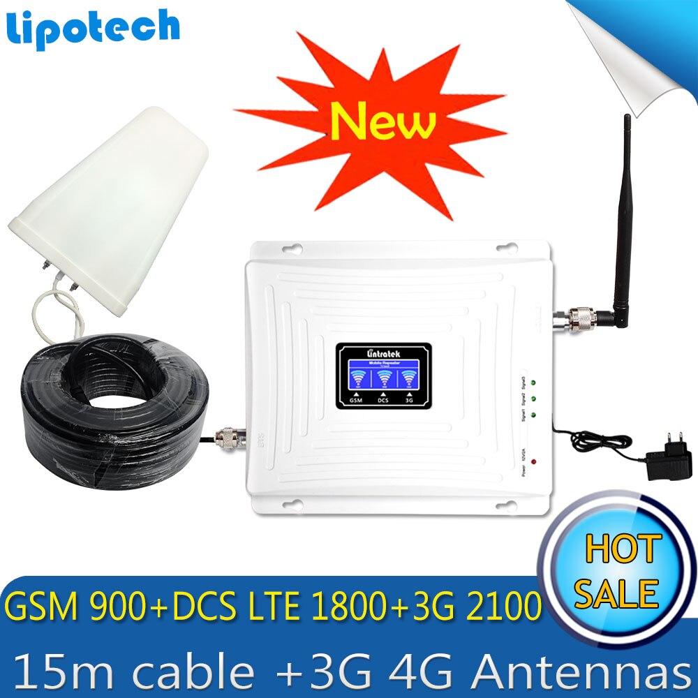 Conjunto Cabo Tri Band Repetidor Lintratek 15 m 4 3 2g g g GSM 900 DCS/LTE 1800 WCDMA/UMTS 2100 mhz Sinal Móvel Impulsionador 3g 4g Antenas