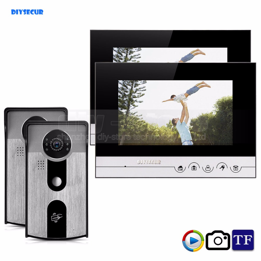 DIYSECUR 7inch Record/Photograph Video Door Phone Doorbell Home Security Intercom System 125KHz RFID Camera IR Night Vision home use 9 inch color tft monitor 8gb sd card video record door phone doorbell intercom system ir camera for apartment security