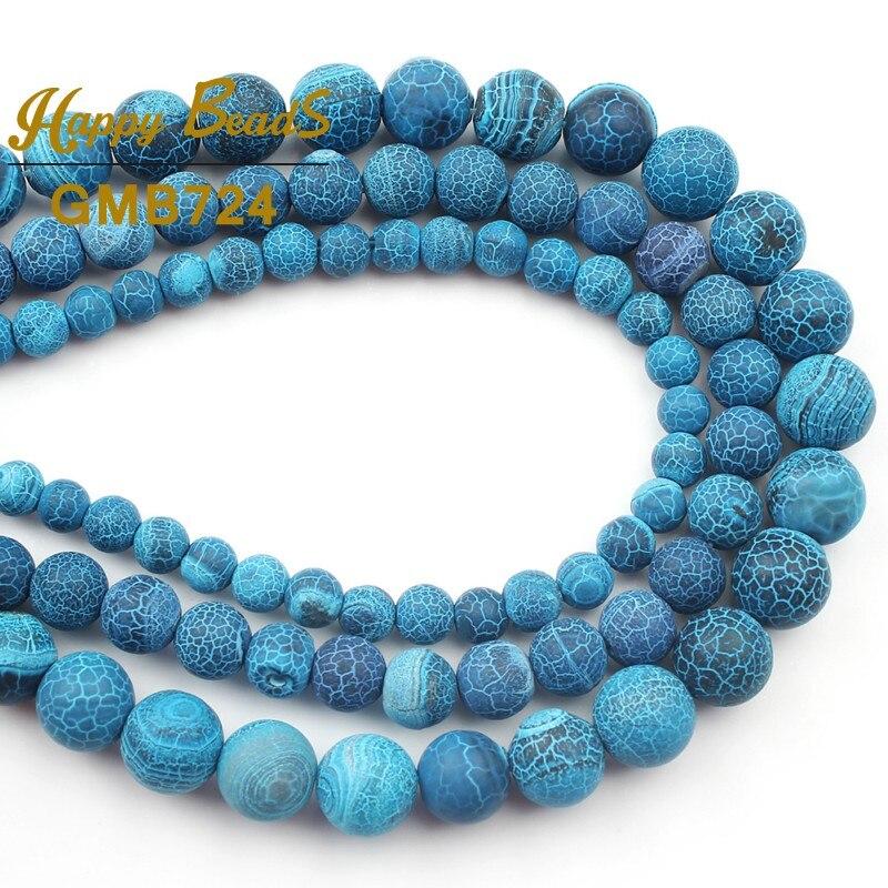 "Dark Blue Natural Agate Gemstone Round Spacer Loose Beads 15/""Strand 6mm"