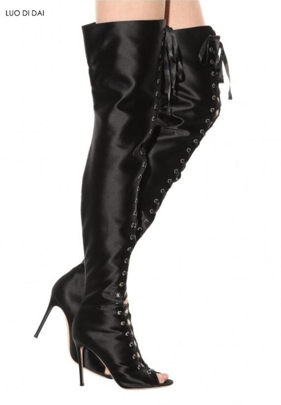 0567d84c84e Zapatos Satén Alta Beige 2019 Rodilla Rojo Mujeres Largas rojo Muslo Vestir Botas  negro Peep Moda ...
