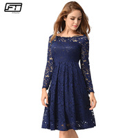 Fitaylor Hollow Out Sexy Spring Autumn Dress Women Slim Black Lace Evening Party Vestidos Mujer Plus