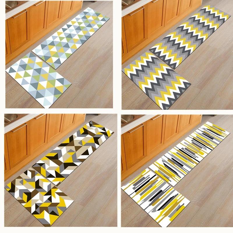 paillasson de sol en polyester et caoutchouc long tapis de cuisine de couloir porte d entree antiderapant lavable