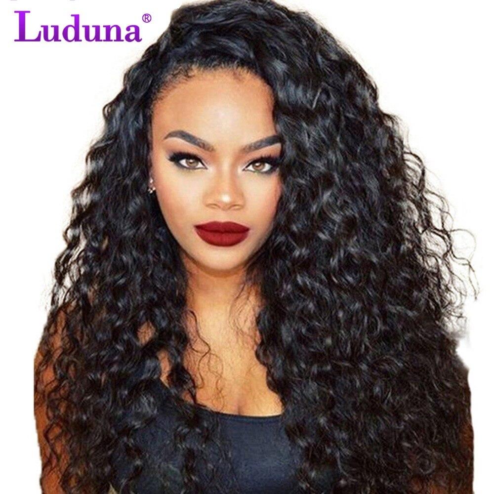 Luduna Синтетические волосы на кружеве человеческих волос парики с ребенком волос вода волна человеческих волос парики плотность 150% бразильс...