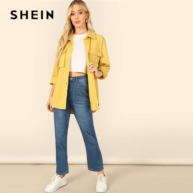 SHEIN Yellow Dual Flap Pocket Front Shirt Plain Jacket Autumn 2019 Casual Regular Single Breasted Women Coat Outerwear 6