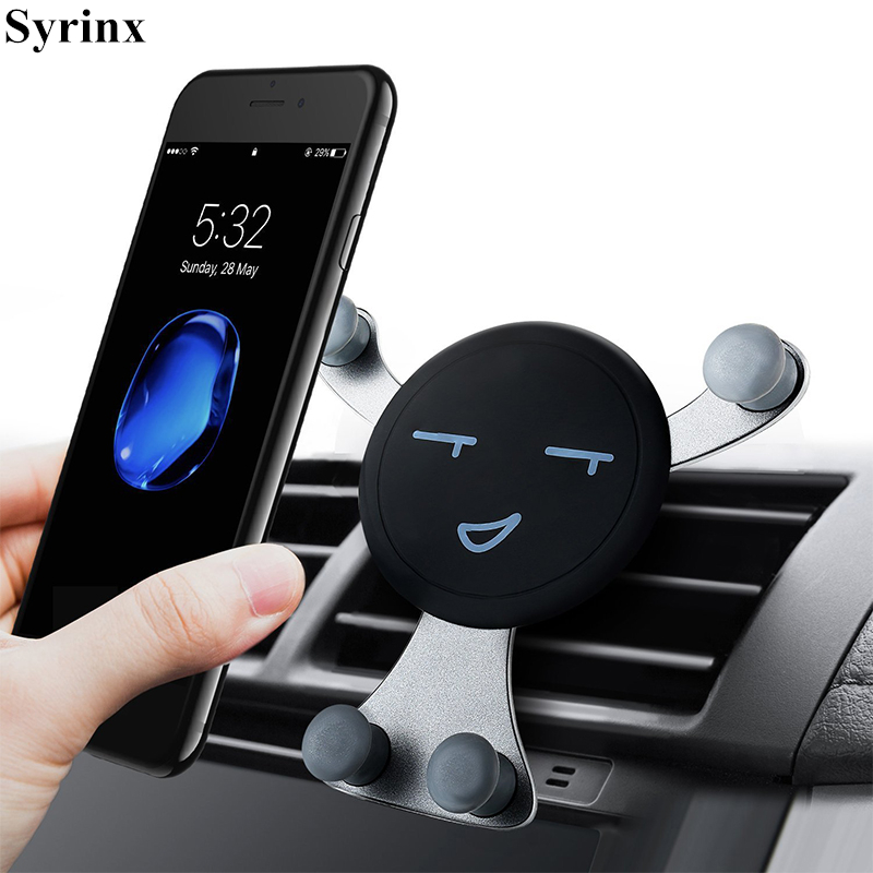 Universal Car Phone Holder GPS Stand Gravity Stand For Phone In Car Holder Stand No Magnetic For IPhone X Xs Smile Face Support