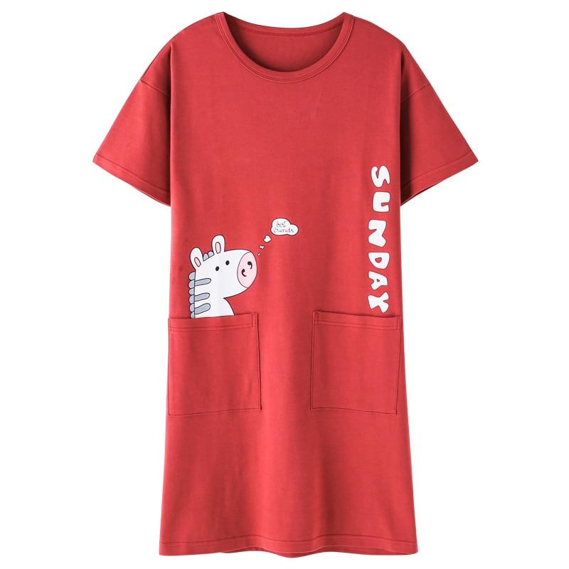 Loose Girls Nightie   Nightgown   Women Short-sleeved   Sleepshirts   2019 Summer Cotton Nightwear Female O-neck Nightdress Sleepwear
