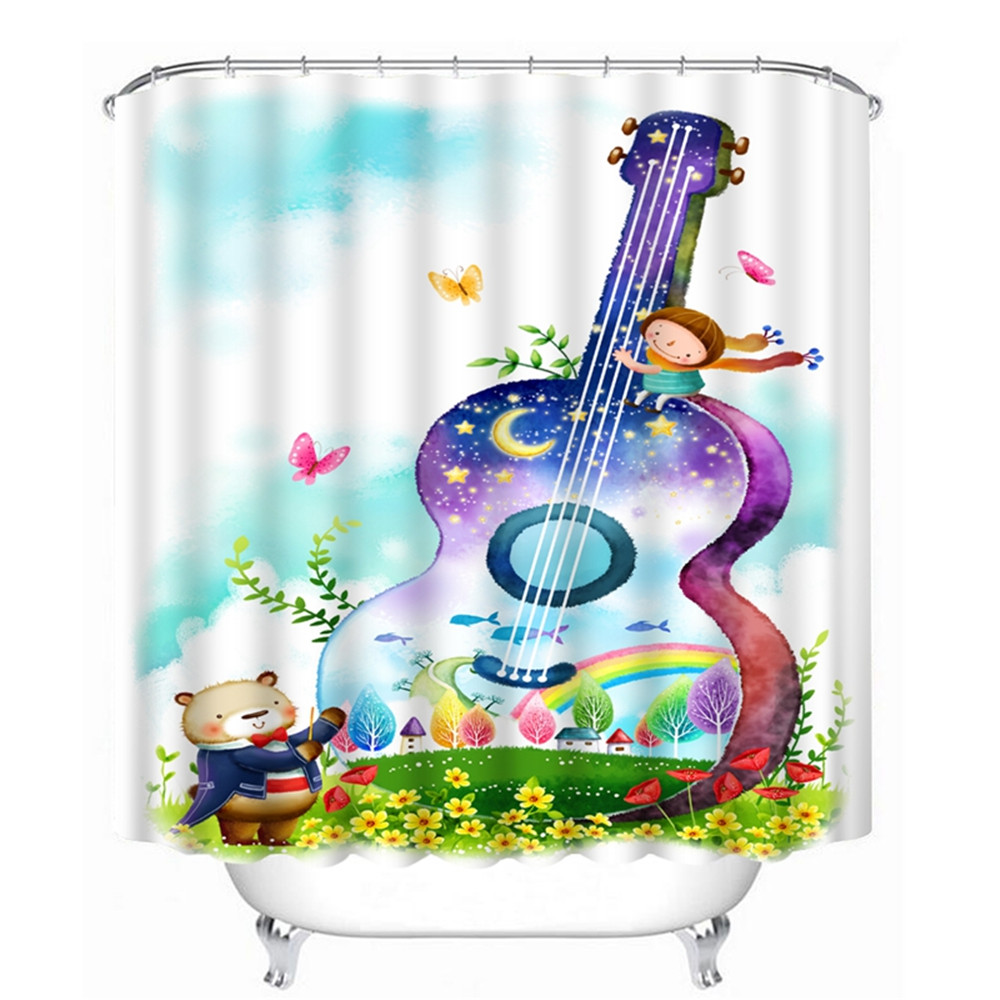 3D Oil Guitar Music Kids Bathroom Shower Curtain WaterproofGuitar Musice And Garden Bedroom W150XH180 W180XH180 In Curtains From Home