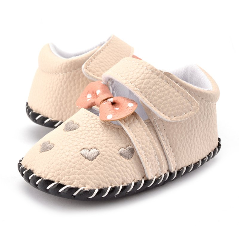 Baby Shoesborn Soft Leather Sneakers Toddler Boy Girl Crib Pram Shoes Bow Heart-shaped Prewalker