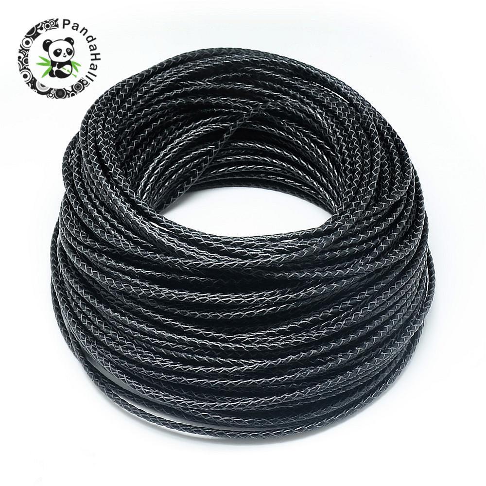 Cordon tressé en cuir, noir, 3mm; environ 50 m/bundle