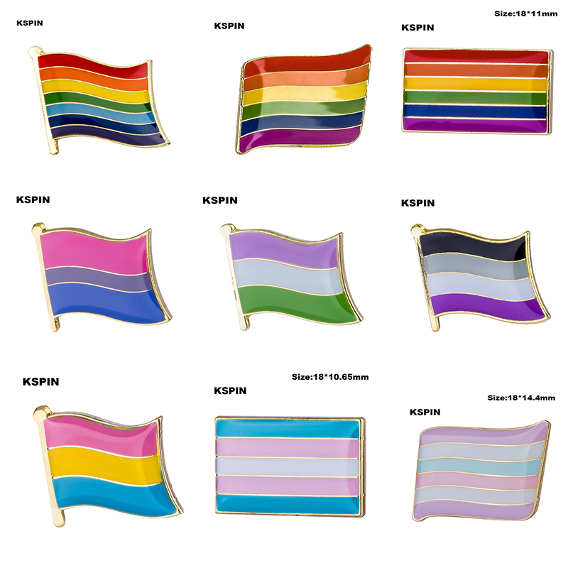 LGBT <font><b>Pride</b></font> Rainbow <font><b>Flags</b></font> Intersex <font><b>Pride</b></font> <font><b>Asexual</b></font> Pin Metal Badges for Backpacks Brooch Jewelry image