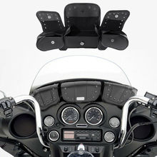 Motorcycle Windshield Bag Tri Pouch 3 Pocket For Harley Touring Electra Glide Street Trike 1996-2013