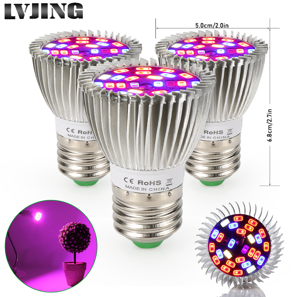 40Pcs Set Wholesale LED grow light 28W E27 Full Spectrum For Indoor Greenhouse plant Tent Hydroponics